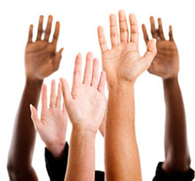 five raised hands