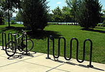Bike racks by a park